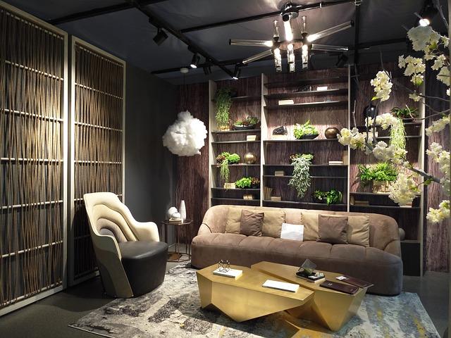 obývací pokoj s rostlinami